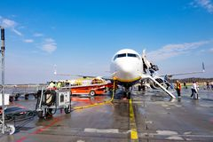 Aircraft at Stockholm Airport. Stockholm, Sweden - March 05, 2016: Aircraft landed at Arlanda airport at Stockholm this morning and the passengers disembark the royalty free stock image