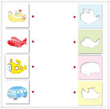 Aircraft, submarine, bus and ship. Educational game for kids Stock Photos