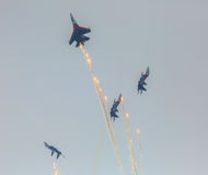Aircraft Sukhoi Su-27 of the Military Air forces Russia perform aerobatics at an Airshow Russian Knights Stock Images