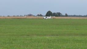 Aircraft on summer airfield grass stock video footage