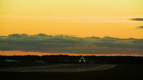 Aircraft in sunset stock footage
