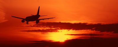 Aircraft on sunset sky. Aircraft on beautiful sunset sky royalty free illustration