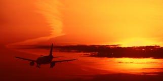 Aircraft on sunset sky. Aircraft on beautiful sunset sky stock illustration