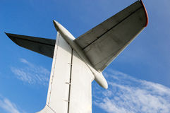 Aircraft tail and blue sky Royalty Free Stock Photo