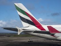 A380 aircraft tail, tail unit, Emirates Airlines stock photo