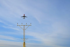 Aircraft take off. Air craft taking of from airfield with landing light Stock Photos