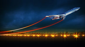 Aircraft at take off on night airport. 3d illustration of an aircraft at take off on night airport. Bright lights at runway vector illustration
