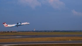 Aircraft takeoff  off from the in Swechat airport Royalty Free Stock Photo