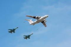 Aircraft tanker Ilyushin Il-78 and bombers Sukhoi Su-34. Moscow, Russia - May 7, 2015: The aircraft tanker Ilyushin Il-78 and bombers Sukhoi Su-34 (Fullback) in Royalty Free Stock Photos