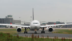Aircraft Taxiing, Nose and Cockpit. A view from in front of the noseof this taxiing airliner stock photography