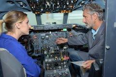 Aircraft technician having lesson Stock Photography
