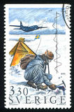 Aircraft and temperature experiment. SWEDEN - CIRCA 1989: stamp printed by Sweden, shows Aircraft and temperature experiment, circa 1989 Royalty Free Stock Images