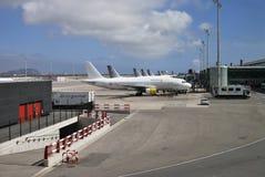 Aircraft at terminal. Barcelona Airport. Spain Stock Photo