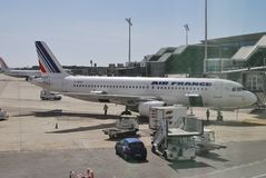 Aircraft at terminal. Barcelona Airport. Spain Royalty Free Stock Photos