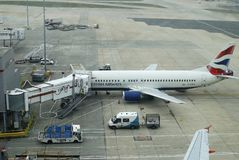 Aircraft at terminal. Gatwick Airport. England Stock Photo