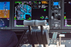 Aircraft Throttle. Thrust levers of a twin engined airliner Stock Photography
