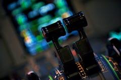 Aircraft Thrust levers Stock Photo