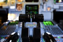 Aircraft Thrust levers. Close up of airbus 320 thrust levers Stock Images