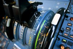 Aircraft Thrust levers. Close up of airbus 320 thrust levers Royalty Free Stock Images