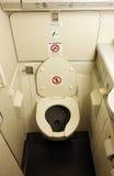 Aircraft toilet. A close up shot of an aircraft toilet stock photos