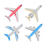 Aircraft Top View Vector Illustrations Set Royalty Free Stock Image