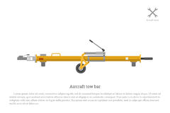 Aircraft tow bar. Aviation equipment for repair and maintenance. Of airplanes. Vector illustration Stock Photo
