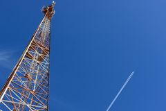 Aircraft and tower Stock Photography