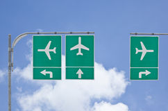 Aircraft traffic sign on blue sky Royalty Free Stock Photos