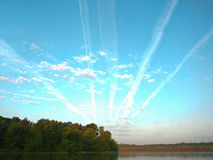Aircraft trails Stock Image