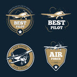 Aircraft and transportation labels. Air tourism vector emblems. Aircraft and air transportation labels. Air tourism vector emblems. Emblem aircraft, flight label Stock Images