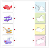 Aircraft, trolleybus, crane and ship. Educational game for kids Stock Image