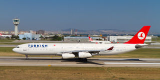 Aircraft. Turkish Airlines Airbus A340-311 accelerate to takeoff at Ataturk Airport on May 26, 2013 in Istanbul, Turkey. Airbus A340 introduced in 1993 and 377 royalty free stock photography