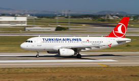 Aircraft. Turkish Airlines Airbus A319-132 accelerate to takeoff at Ataturk Airport on May 26, 2013 in Istanbul, Turkey. Airbus A319 introduced in 1996 and 1,522 royalty free stock photo