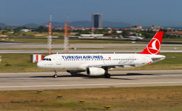 Aircraft. Turkish Airlines Airbus A320-232 accelerate to takeoff at Ataturk Airport on May 26, 2013 in Istanbul, Turkey. TA has 219 aircraft fleet with 227 stock photo