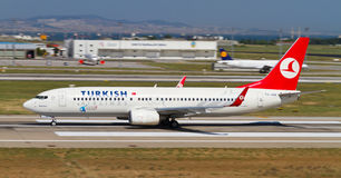 Aircraft. Turkish Airlines Boing 737-8F2 accelerate to takeoff at Ataturk Airport on May 26, 2013 in Istanbul, Turkey. Boeing 737 introduced in 1968 and 7,527 royalty free stock photo