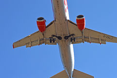 Aircraft Undercarriage. A view of the undercarriage as the plane is about to touch down at Alicante airport Stock Image
