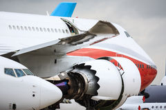 Aircraft. Various aircraft (Boeing 747, 737) close together at Paris Air Show royalty free stock photography