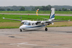 Aircraft. Vasilkov, Ukraine - July 3, 2013.Pacnet Air Rockwell Commander 690C Jetprop 840 aircraft landed and parked taxis Stock Photo