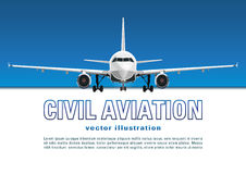 Aircraft vector. Banner, poster, flyer, card from plane against the background of the blue sky and text on a white backdrop. Jet commercial airplane in full stock illustration
