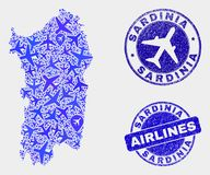 Aircraft Mosaic Vector Sardinia Map and Grunge Seals. Aircraft vector Sardinia map collage and scratched seals. Abstract Sardinia map is composed from blue flat stock illustration
