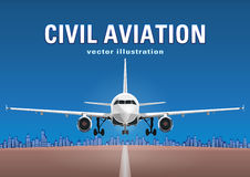 Aircraft vector, take-off plane against the background of the blue sky, city houses and the runway, with space for text Royalty Free Stock Photography