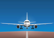 Aircraft vector, take-off plane against the background of the blue sky and the runway. Jet commercial airplane in full face. Air travel concept flying airliner Royalty Free Stock Photography
