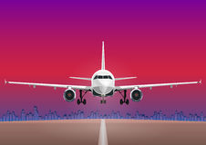 Aircraft vector, take-off plane against the background of the sunset sky, city houses royalty free illustration