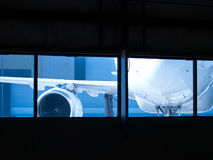 Aircraft wainting for maintenance outside Stock Photo