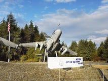 Aircraft, Oak Harbor, Whidbey Island, Washington. Aircraft, Welcome sign - City of Oak Harbor, Whidbey Island, Washington. United States stock photos
