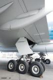 Aircraft wheel. Close up of aircraft wheel at the hangar stock photos