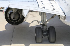 Aircraft wheel and engine Royalty Free Stock Image