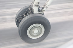 Aircraft Wheel In Motion Stock Image