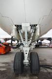 Aircraft wheels. Jumbo jet detail of undercarriage Royalty Free Stock Photography
