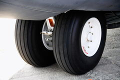 Aircraft wheels. On the ground Stock Image